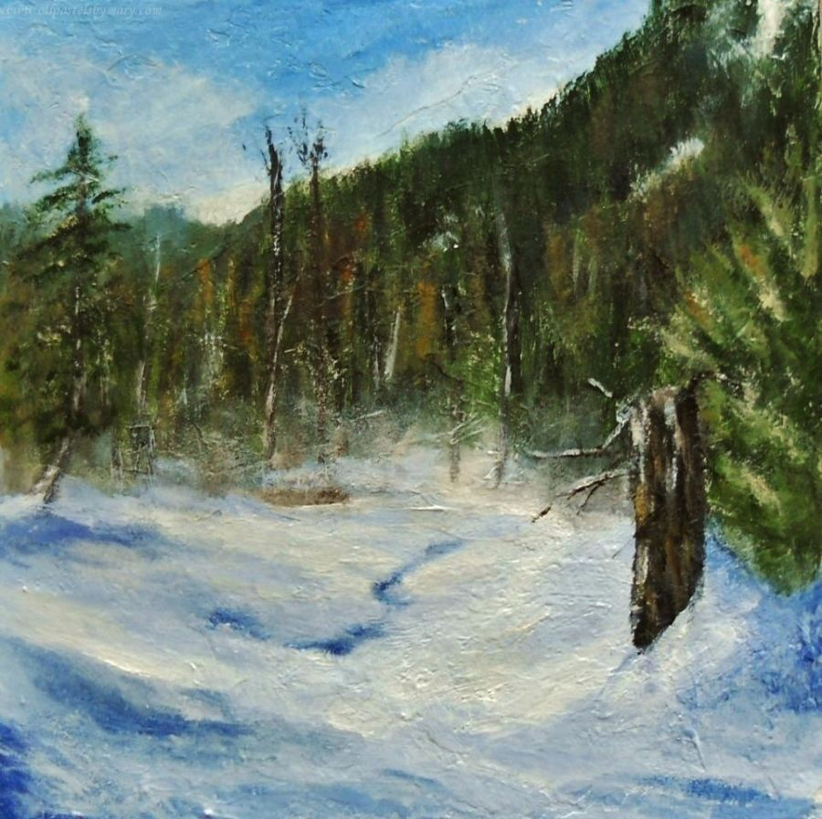 A Frozen Creek, acrylic