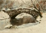 A Snowy Bridge, acrylics