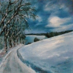 Winter Night, oil pastel