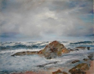 Rough Sea StudyOil Pastel, 8x10