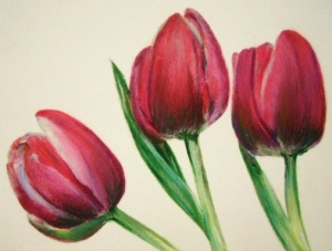 Pink Tulips, oil pastel 4x6
