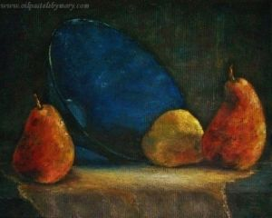 Blue Bowl and Pears