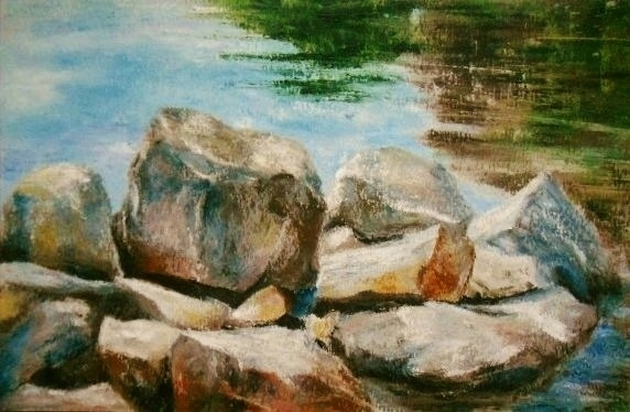 Rock Boulder Challenge Oil Pastels By Mary