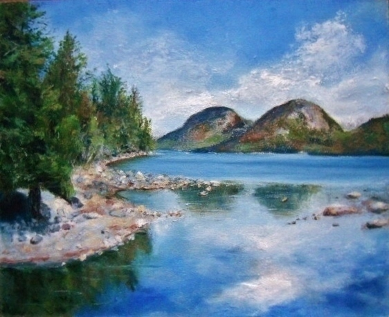 Lakes Rivers Ponds Oil Pastels Oil Pastels By Mary
