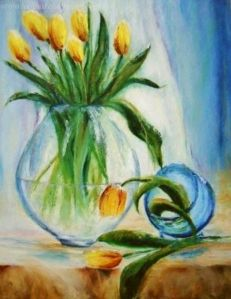 Yellow Tulips in a Vase with text