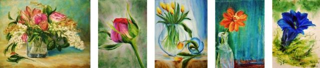 15 Paintings Flower Challenge - #1 through #5