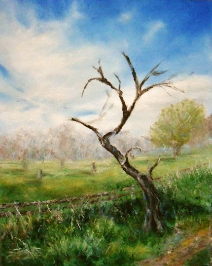 Oil Painting Apple Tree With Apple On Ground