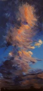 High Rising Sunset Clouds, acrylic