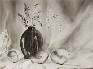 Dark Vase and Fruit