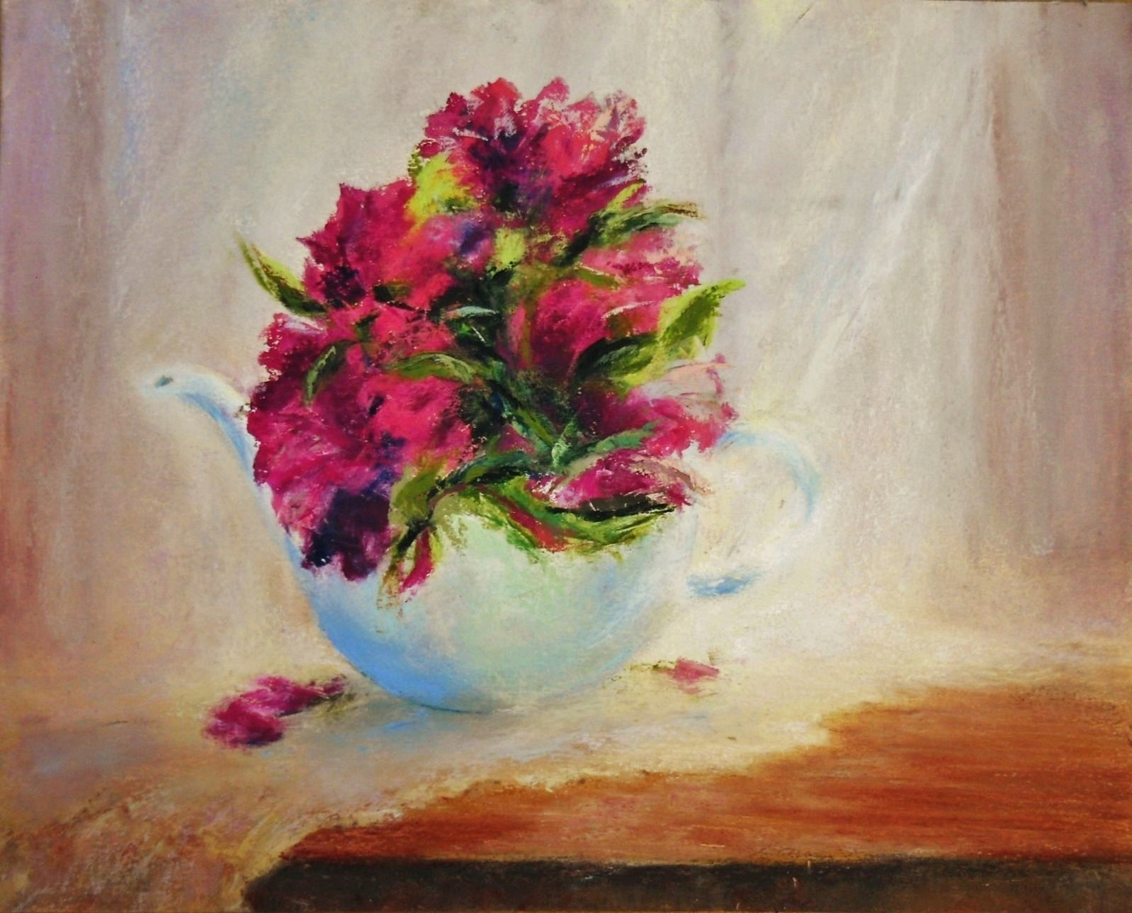 Flowers in a Teapot oil pastel